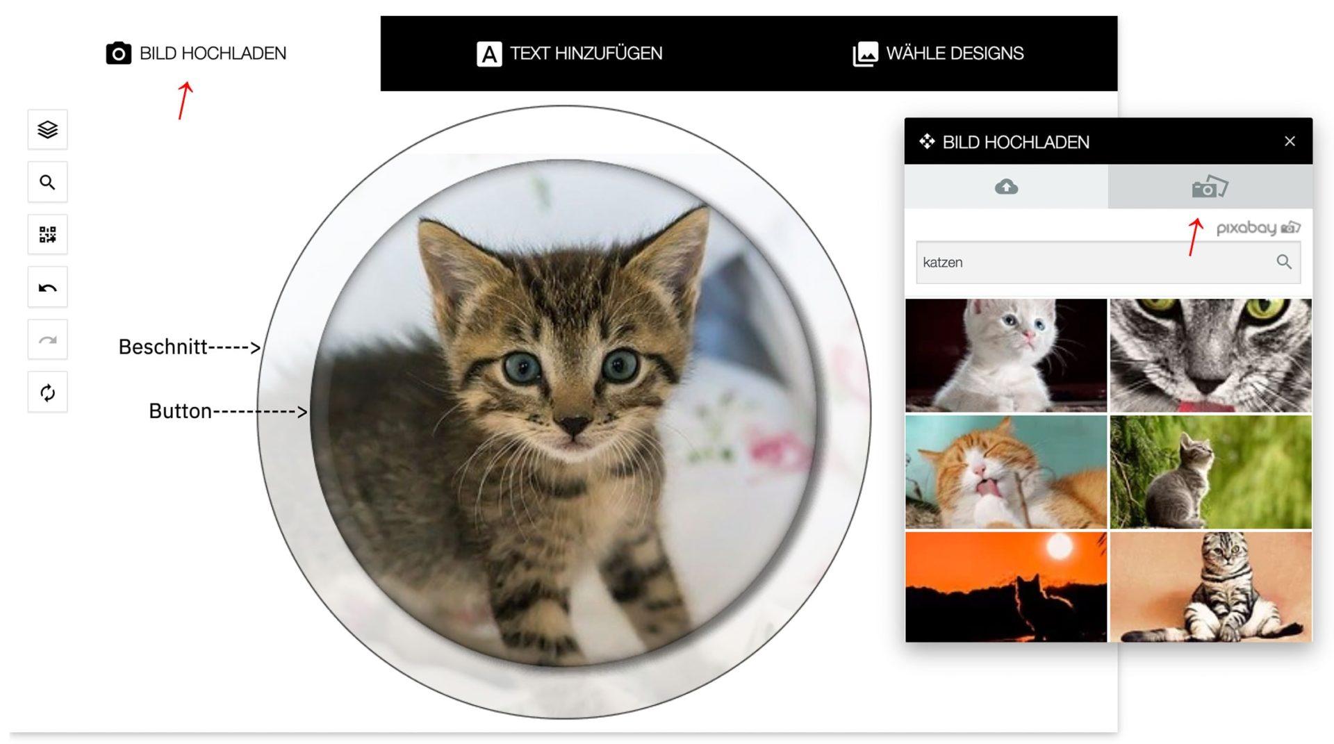 Buttondesigner mit Katze