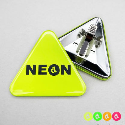 63x70mm Buttons mit Clip (Dreieck) Neon