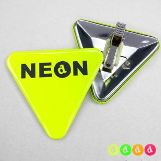 70x63mm Buttons mit Clip (Dreieck) Neon
